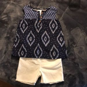 Carter's blue top with white shorts